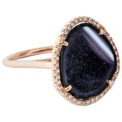 Karolin Agate Geode White Diamond Ring Rose Gold