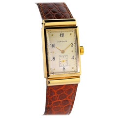 Longines Yellow Gold Art Deco Covered Lugs Manual Wind Wristwatch