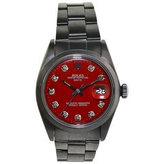 Rolex Stainless Steel Charcoal Carbonized Red Dial Perpetual Wind Watch
