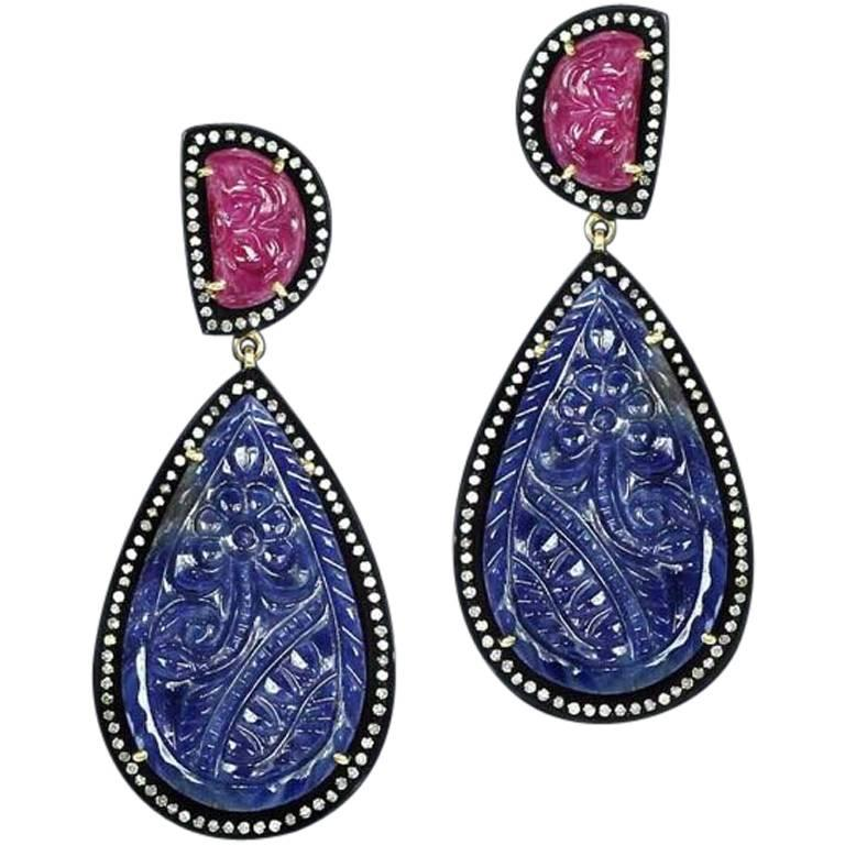 Victorian Style Carved Ruby and Blue Sapphire Dangling Earring