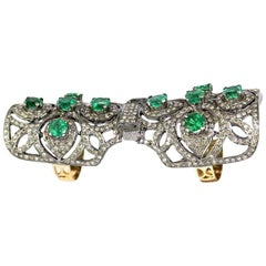 Statement Emerald and Diamond Cocktail Finger Ring