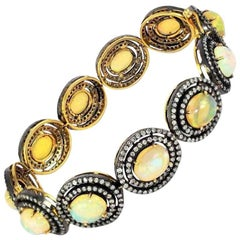 Victorian Style Cabochon Opal and Diamond Bracelet