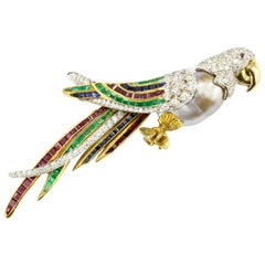 18K Gold and Platinum Baroque Pearl Ruby Emerald Sapphire Diamond Parrot Brooch