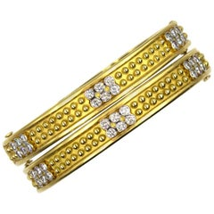 Set of Diamond 18 Karat Yellow Gold Studded Stackable Bangle Bracelets