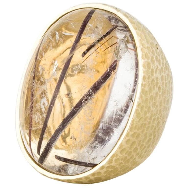 18 Karat Rutilated Quartz Ring