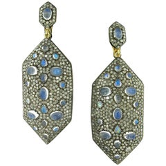 Moonstone and Diamond Gold Earrings
