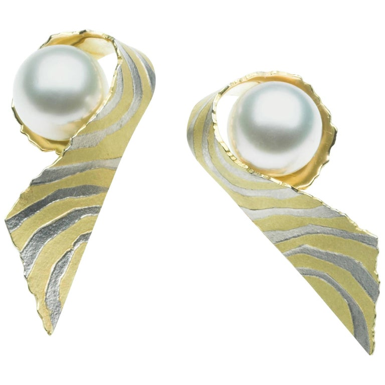 Annabel Eley South Sea Pearl Yellow Gold Platinum Earrings