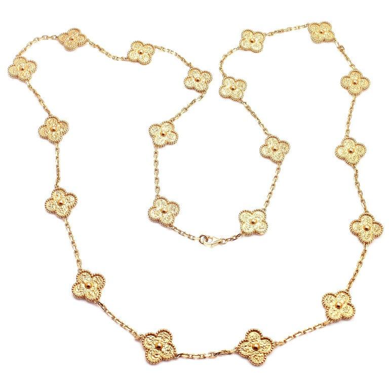 Van Cleef & Arpels Vintage Alhambra Gold 20 Motif Necklace 1