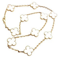 Van Cleef & Arpels Vintage Alhambra Mother-of-Pearl Ten Motif Gold Necklace