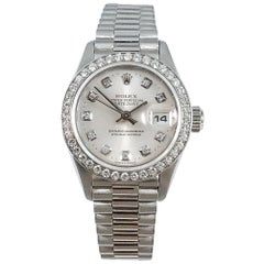 Rolex Ladies Platinum Oyster Perpetual Datejust Chronometer Wristwatch Ref 79136