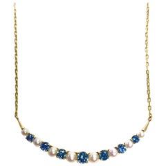 Sapphire and Pearl Gold Crescent Moon Necklace