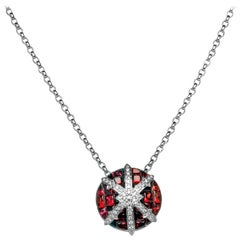Ruby, Diamond and 18 Karat White Gold Pendant Necklace