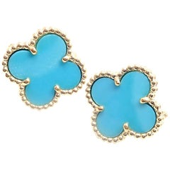 Van Cleef & Arpels Vintage Alhambra Turquoise Yellow Gold Earrings