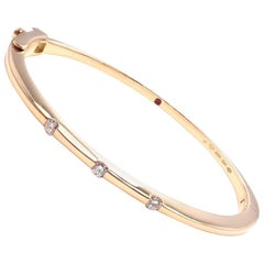 Roberto Coin Classica Parisienne Diamond Yellow Gold Bangle Bracelet