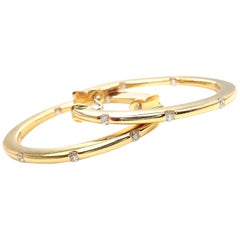 Roberto Coin Diamond Yellow Gold Hoop Earrings
