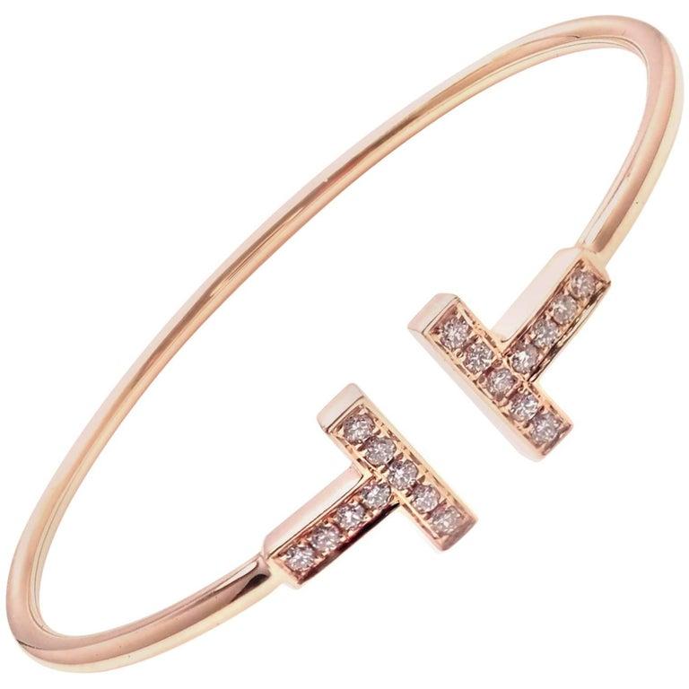 Tiffany & Co. Diamond T Rose Gold Bangle Bracelet