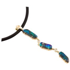 Kian Design 18 Carat Yellow Gold Boulder Opal Pendant and Neoprene Necklace