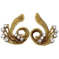 Gold Diamond Curlicue Earclips