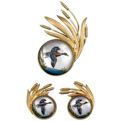 Gold Essex Crystal Up-Country Duck Hunting Motif Suite