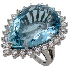 Pear Shaped Aquamarine Diamond Ring