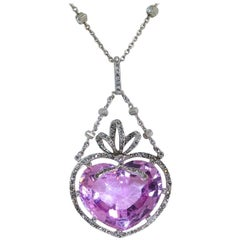 Imperial Pink Topaz and Diamond Antique Platinum Pendant
