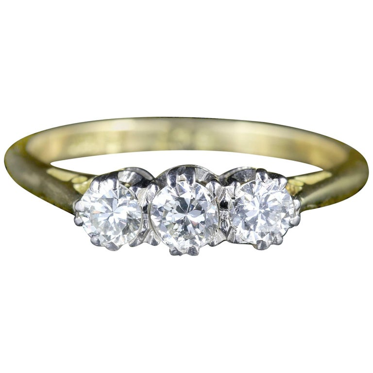 Antique Edwardian 18ct Gold Platinum Diamond Trilogy Ring, circa 1910