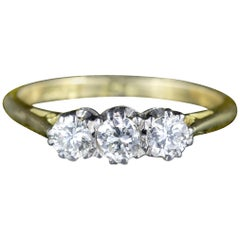 Antique Edwardian 18 Carat Gold Platinum Diamond Trilogy Ring, circa 1910
