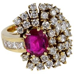 Vintage 2.20 Natural Untreated Ruby Up 4.15 Carat Diamond Bombe Ring