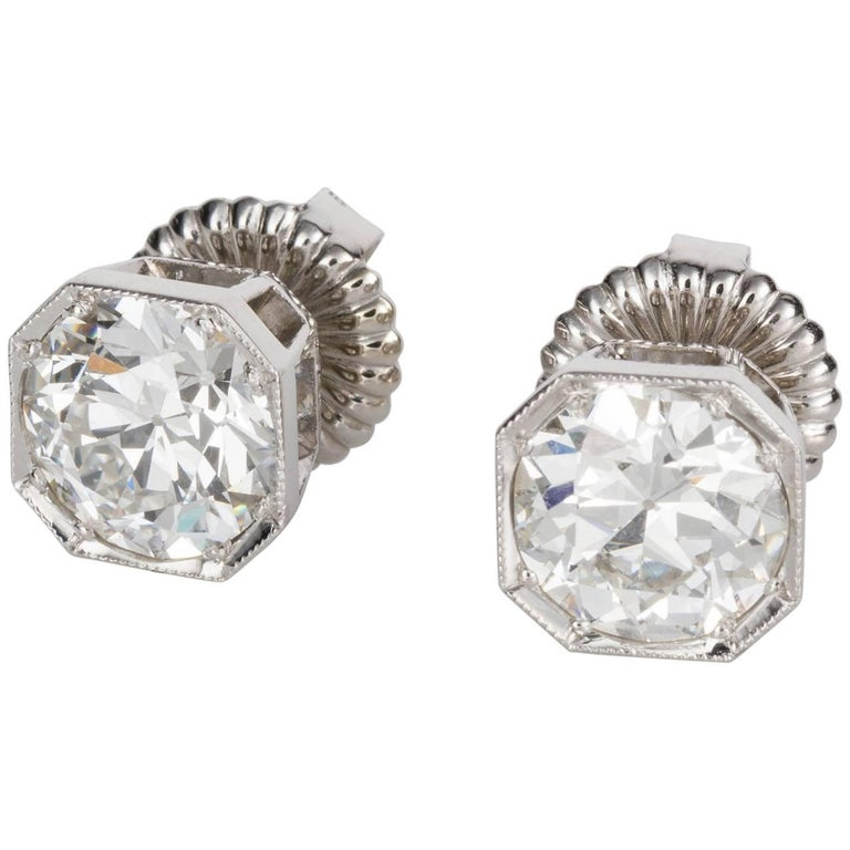 4.25ct GIA Certified Old Cut Diamond Stud Earrings 18k White Gold