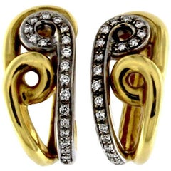 Hoop Earrings in Yellow and White Gold with Diamonds