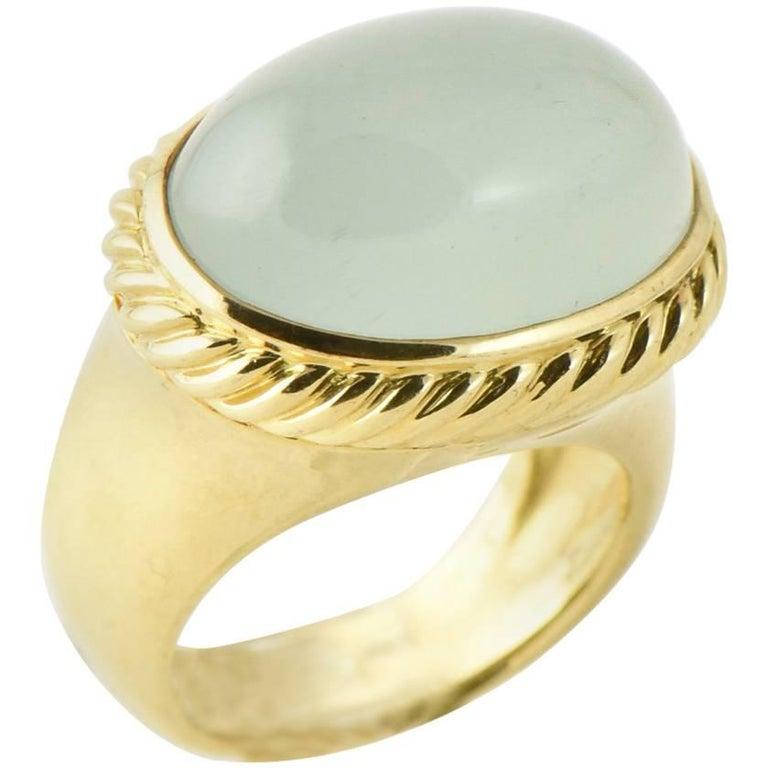 David Yurman Blue Quartz and Gold Signature Ring