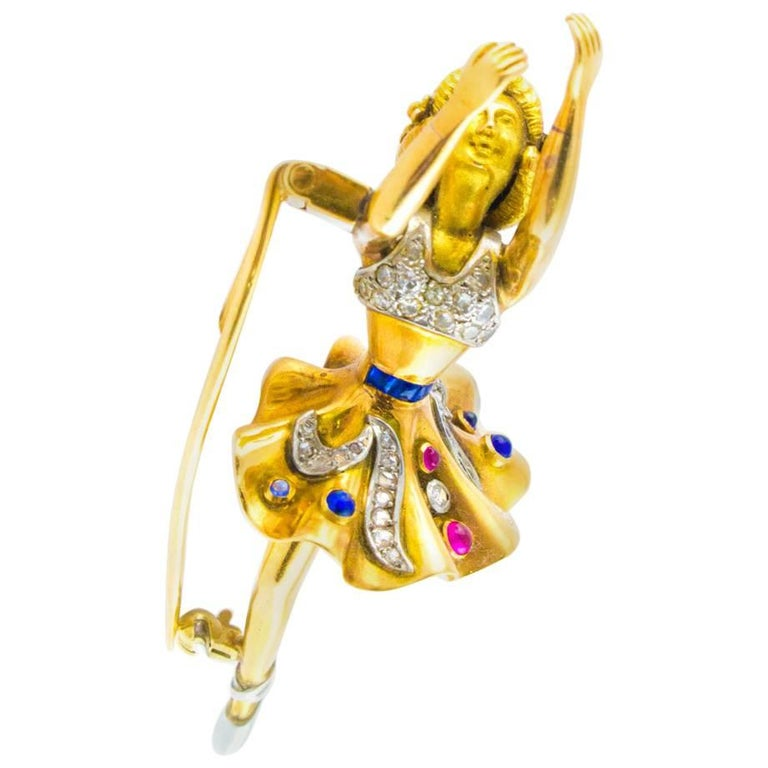 Diamonds Rubies and Sapphires Wagtail Gold Brooch