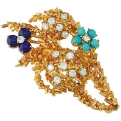 French 1960s 18k Gold Lapis Turquoise Diamond Brooch Pendant for Necklace