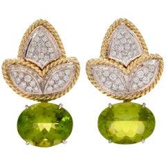 1980s Peridot Diamond 18 Karat Gold Clip Back Earrings