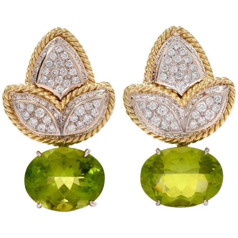 1980s Peridot Diamond 18 Karat Gold Clip Back Earrings