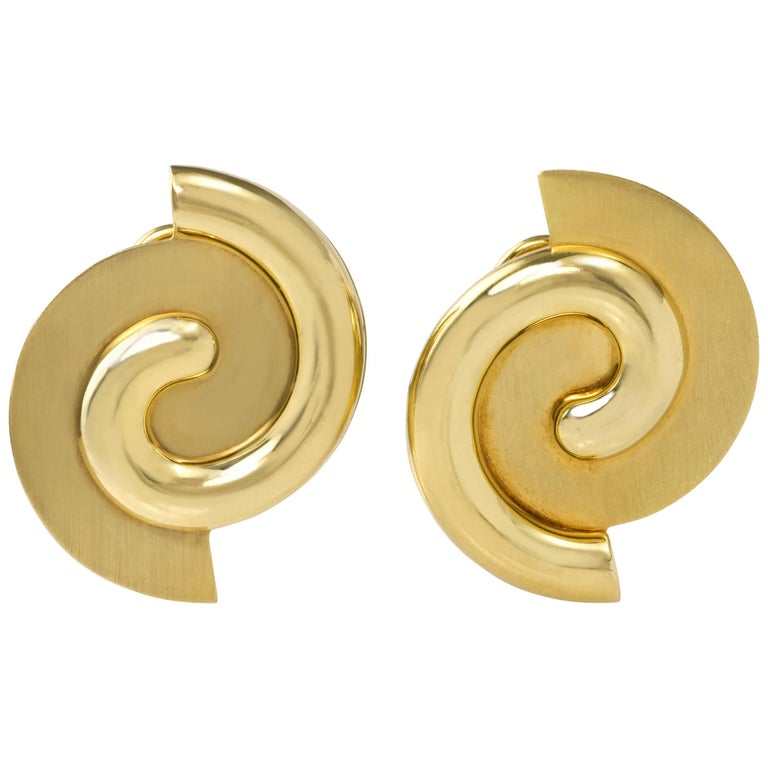 1980s Manfredi Modernist Gold Clip on and Post Earrings