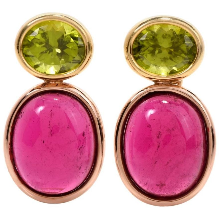 1960s 67.72 Carat Tourmaline and Peridot 18 Karat Gold Clip Back Earrings