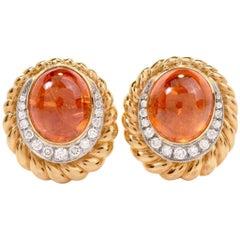 1970s  Spessartite Garnet 18K Gold Dimaond Clipback Back Earrings