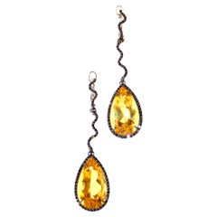 Sharon Khazzam Yellow Beryl and Black Diamond Sylvester Eardrops