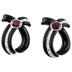 Drop Earrings with Diamonds, Rubies and Onyx