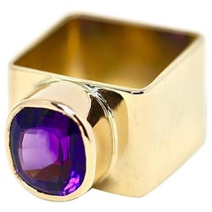 1960s Jean Dinh Van for Cartier 18 Karat Gold Square Ring with Faceted Amethyst