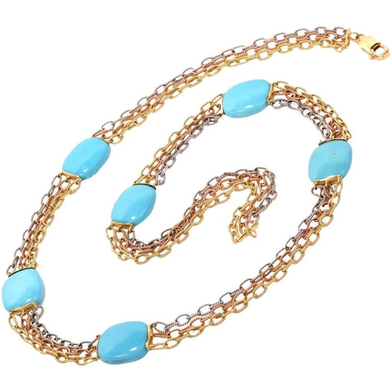 1960s Turquoise 18K Three-Tone Gold Chain Necklace
