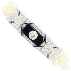 Art Deco Platinum Old European Diamond Sapphire Pearl Onyx Conversion Bracelet
