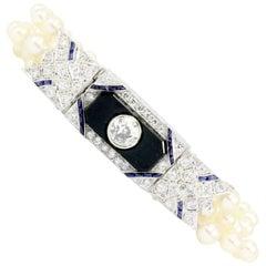 Art Deco Platinum Old European Diamond Sapphire Pearl Onyx Conversion Bracelet