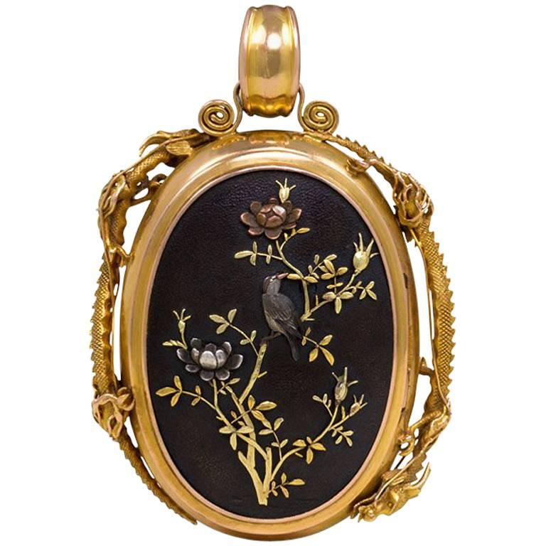 Victorian Double-Sided Shakudo Locket With Dragons