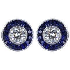 Diamond Sapphire Stud Earring