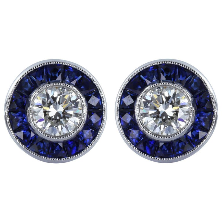 Diamond Sapphire Stud Earring For Sale