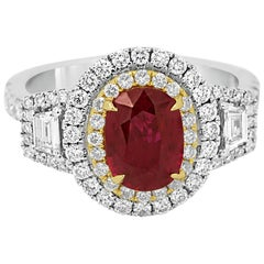 Ruby Diamond Double Halo Two-Color Gold Ring