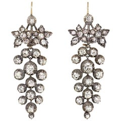 Antique Old-Mine Diamond Grape Cluster Earrings