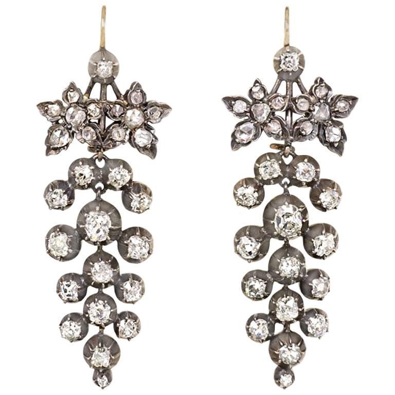 Antique Old-Mine Diamond Grape Cluster Earrings